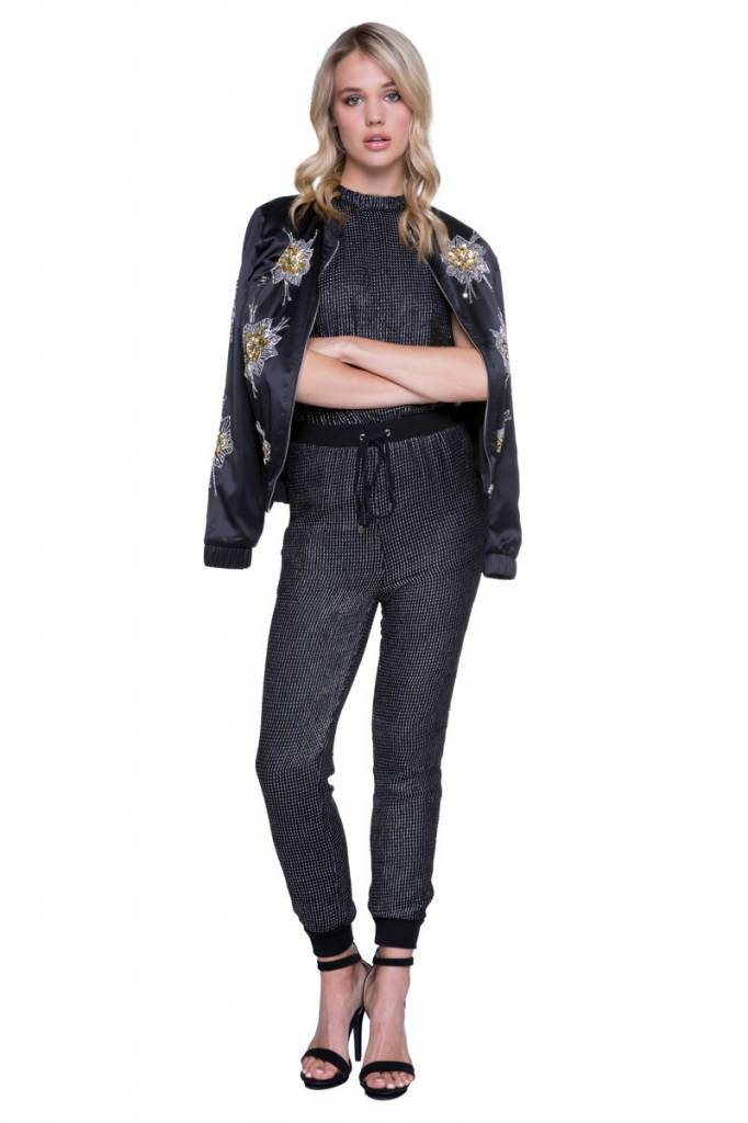 Endless Rose Black Embellished Bomber Jacket