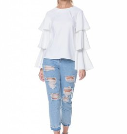 English Factory White Three Tier Bell Sleeve Blouse