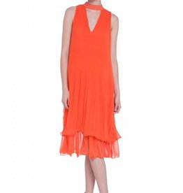 English Factory Orange Ruffle Midi Dress