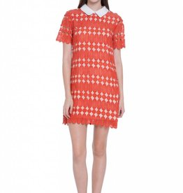English Factory Orange Short Sleeve Dress with Contrast Collar