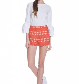 English Factory Orange Lace Overlay Short