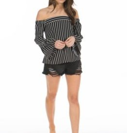 PPLA Black and White Vertical Stripe Off The Shoulder Blouse
