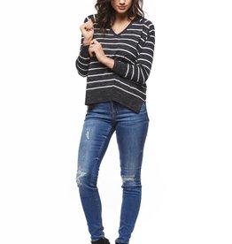 Dex V-Neck Charcoal Stripe Sweater