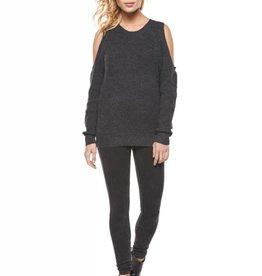 Dex Dark Charcoal Cold Shoulder Sweater