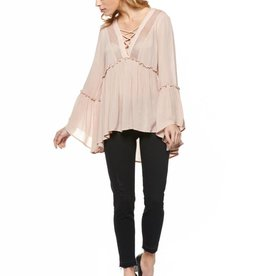 Dex Rose Long Sleeve Woven Tie-Neck Blouse