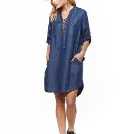 Dex Blue Wash Lace Up Front Tencel Dress