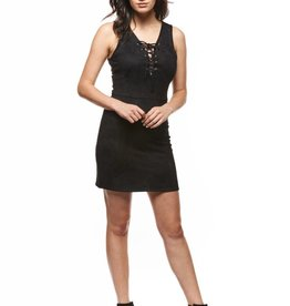 Dex Black Sleeveless Lace Front Dress