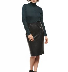 Dex Black Leather Pencil Skirt