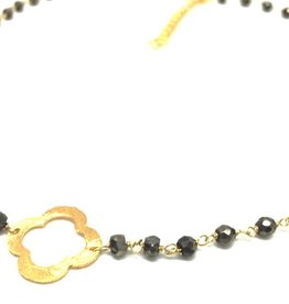 Erin Gray Petite Pyrite and Gold Clover Short Necklace