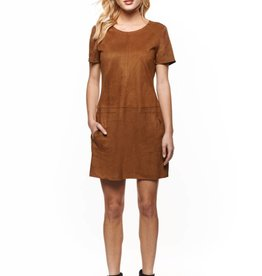 Dex Camel Suede Short Sleeve Dress