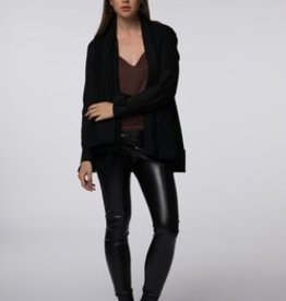 Standard by PPLA Black Drape Front Cardigan with Suede Sleeve