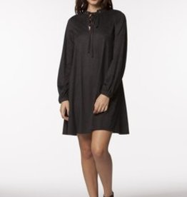 PPLA Black Suede Touch Key Hole A-Line Dress