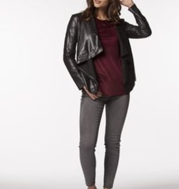PPLA Black Suede Touch Biker Jacket
