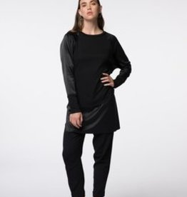Standard by PPLA Black Knit Tunic w/ Satin Trim and Sleeves