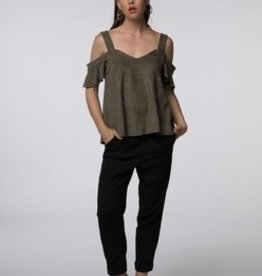 Standard by PPLA Olive Suede Touch Cold Shoulder Blouse