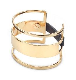 Jenny Bird 14K Gold Dipped Brass Bangle w/Leather Strap