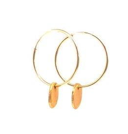 Erin Gray Gold Filled Hoop Earring w/Gold Medallion