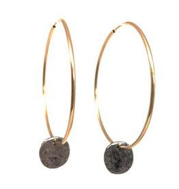 Erin Gray Gold Hoop Earring w/gunmetal