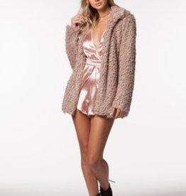 PPLA Mushroom Open Front Fur Jacket