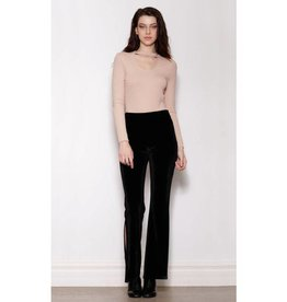 Pink Martini Black Velour Wide Leg Pant