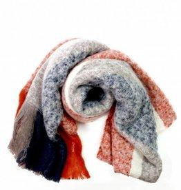 Lavand Orange, Khaki & Blue Blanket Scarf w/fringe