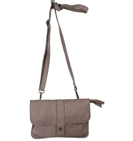 Latico Ray Gray Leather Front Button Crossbody
