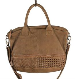 Latico Thorpe Olive Leather Tote w/ Woven Detail