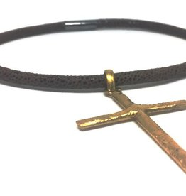 Erin Gray Leather Chocker with Large Cross
