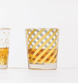 8 Oak Lane Gold Diagonal Old Fashioned Glass