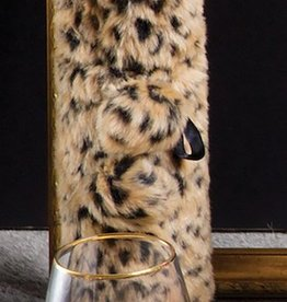8 Oak Lane Leopard Luxe Faux Fur Wine Bag