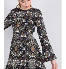 Molly Bracken Black Abstract Print A-Line Dress