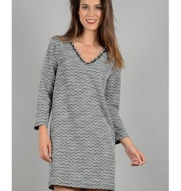 Molly Bracken Black/White Tweed Short Sleeve Dress