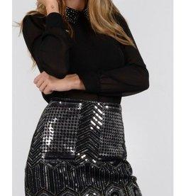 Molly Bracken Black Sequined Embellished Mini-Skirt