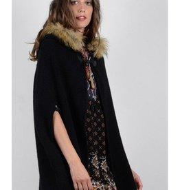 Molly Bracken Black Cape w/ Faux Fur Trimmed Hood