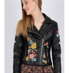 Molly Bracken Black Faux Leather Jacket w/Embroidery