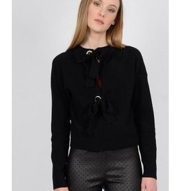 Molly Bracken Black Sweater with Grommet Ties