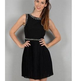 Molly Bracken Black Slv/ls Dress w/Crystals and Pleated Skirt