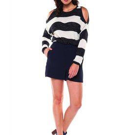 Dex Charcoal Stripe Cold Shoulder Top