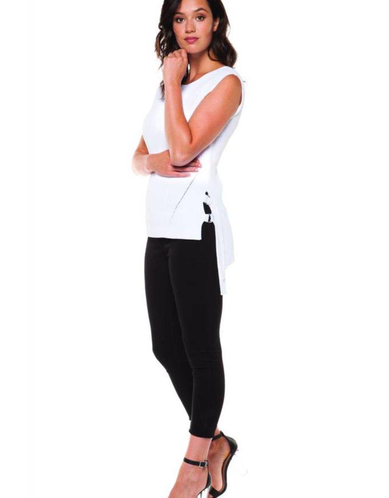 Dex White Sleeveless Sweater w/Side Ring Tie