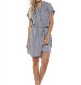 Dex Grey Wash Button Front Dress w/Waist Tie