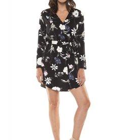 Dex Black Floral Print Tie Waist Dress