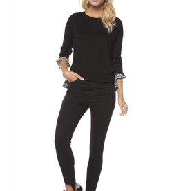 Dex Black/Gingham Sweater w/Ruffle Top
