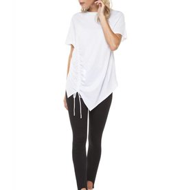 Dex White Asymmetric T-Shirt w/ Ruching