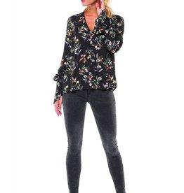Dex Rustic Floral Print Blouse w/Tie Sleeve