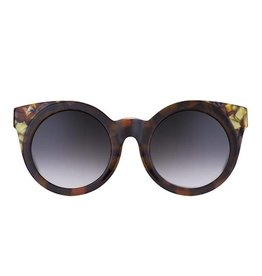 Perverse Sunglasses Glossy Brown Frame w/Multi Color Corners Round Sunglasses