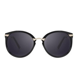 Perverse Sunglasses Black Round Frames w/Gold Temples Sunglasses
