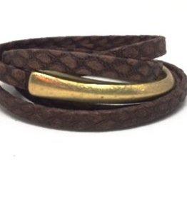 Erin Gray Wrap Leather Bracelet w/ Bar Magnet Clasp