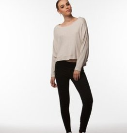Standard by PPLA Heather Oatmeal Knit Top w/Open Back