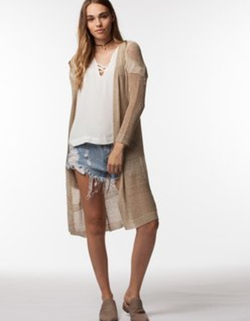 PPLA Tan Loose Knit Long Cardigan