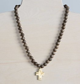 Stone + Stick Cross Pendant Necklace